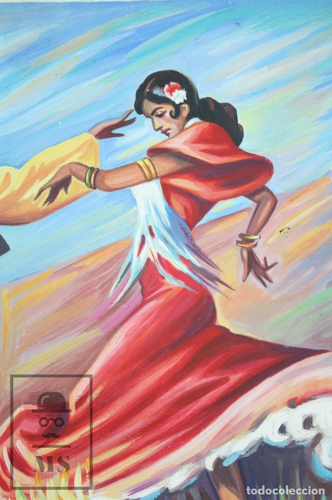 Arte: Dibujo / Ilustración Original - Bailaores Junto al Fuego / Flamenco. F. Ezquerro - Años 40-50 - Foto 3 - 81985088