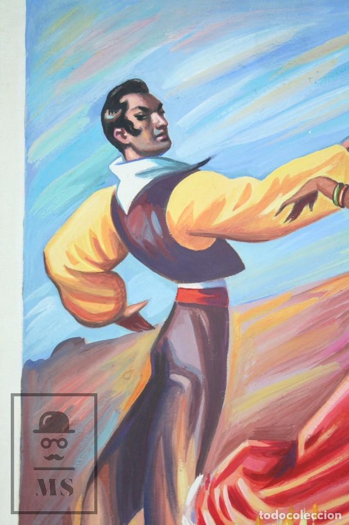Arte: Dibujo / Ilustración Original - Bailaores Junto al Fuego / Flamenco. F. Ezquerro - Años 40-50 - Foto 4 - 81985088
