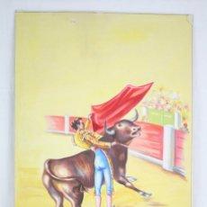 Arte: DIBUJO / ILUSTRACIÓN ORIGINAL - TORERO, PASE DE MULETA. F. EZQUERRO - AÑOS 40-50. Lote 81986068