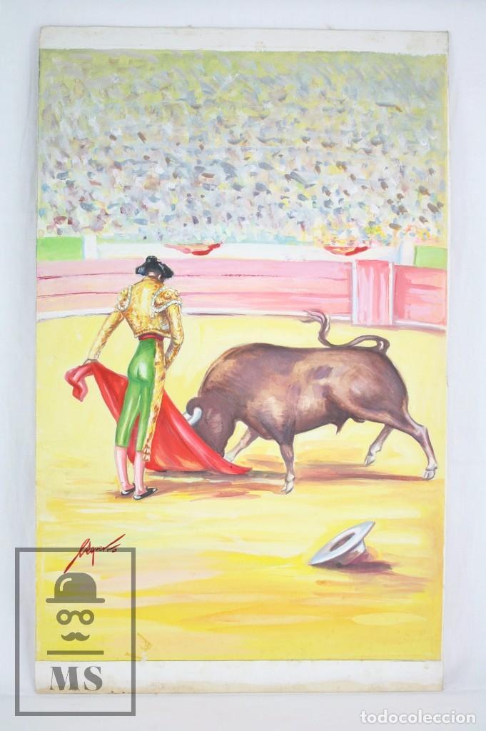 DIBUJO / ILUSTRACIÓN ORIGINAL - TORERO EN LA PLAZA DE TOROS. F. EZQUERRO - AÑOS 40-50 (Arte - Pintura Directa del Autor)