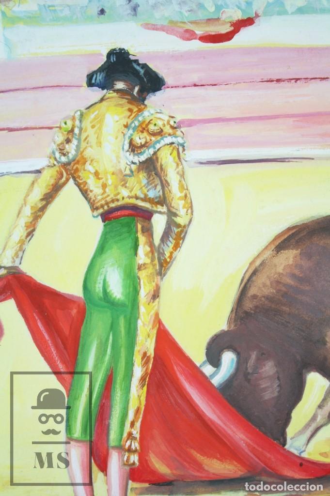 Arte: Dibujo / Ilustración Original - Torero en la Plaza de Toros. F. Ezquerro - Años 40-50 - Foto 2 - 81986228
