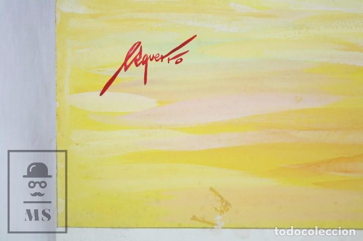 Arte: Dibujo / Ilustración Original - Torero en la Plaza de Toros. F. Ezquerro - Años 40-50 - Foto 3 - 81986228
