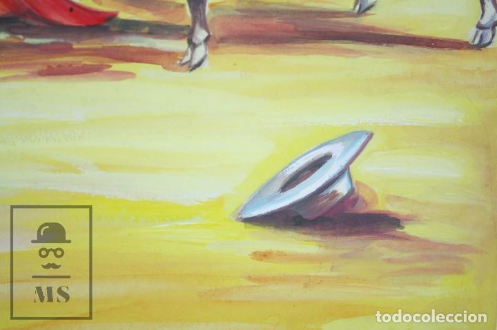 Arte: Dibujo / Ilustración Original - Torero en la Plaza de Toros. F. Ezquerro - Años 40-50 - Foto 5 - 81986228