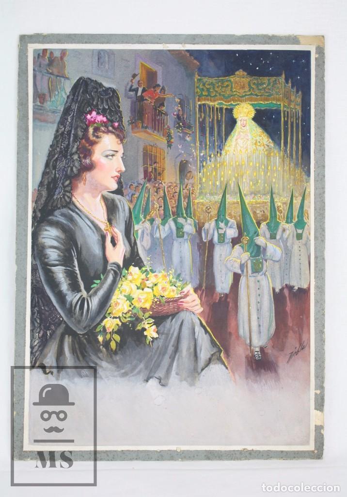 ILUSTRACIÓN ORIGINAL AL GOUACHE - MUJER EN PROCESIÓN DE SEMANA SANTA. ANDALUCÍA. NIEBLA - AÑOS 40-50 (Arte - Pintura Directa del Autor)
