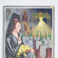 Arte: ILUSTRACIÓN ORIGINAL AL GOUACHE - MUJER EN PROCESIÓN DE SEMANA SANTA. ANDALUCÍA. NIEBLA - AÑOS 40-50. Lote 81987828