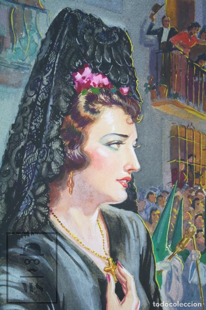 Arte: Ilustración Original al Gouache - Mujer en Procesión de Semana Santa. Andalucía. Niebla - Años 40-50 - Foto 2 - 81987828