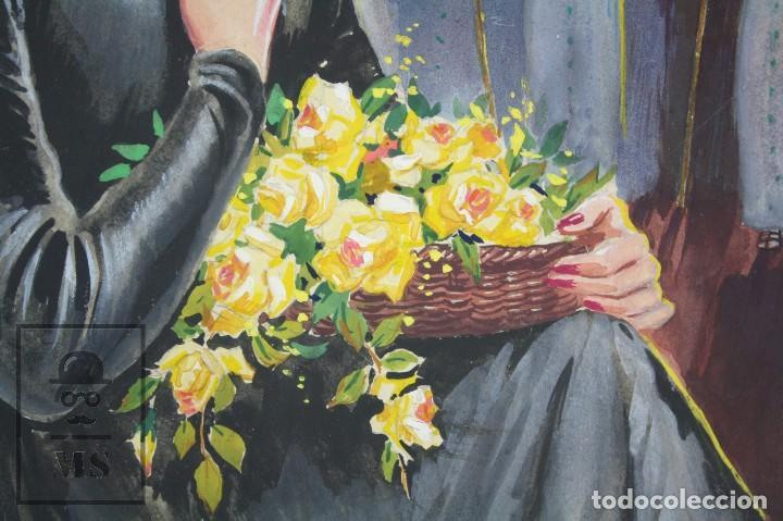 Arte: Ilustración Original al Gouache - Mujer en Procesión de Semana Santa. Andalucía. Niebla - Años 40-50 - Foto 3 - 81987828