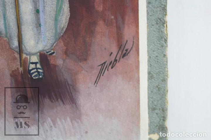 Arte: Ilustración Original al Gouache - Mujer en Procesión de Semana Santa. Andalucía. Niebla - Años 40-50 - Foto 4 - 81987828