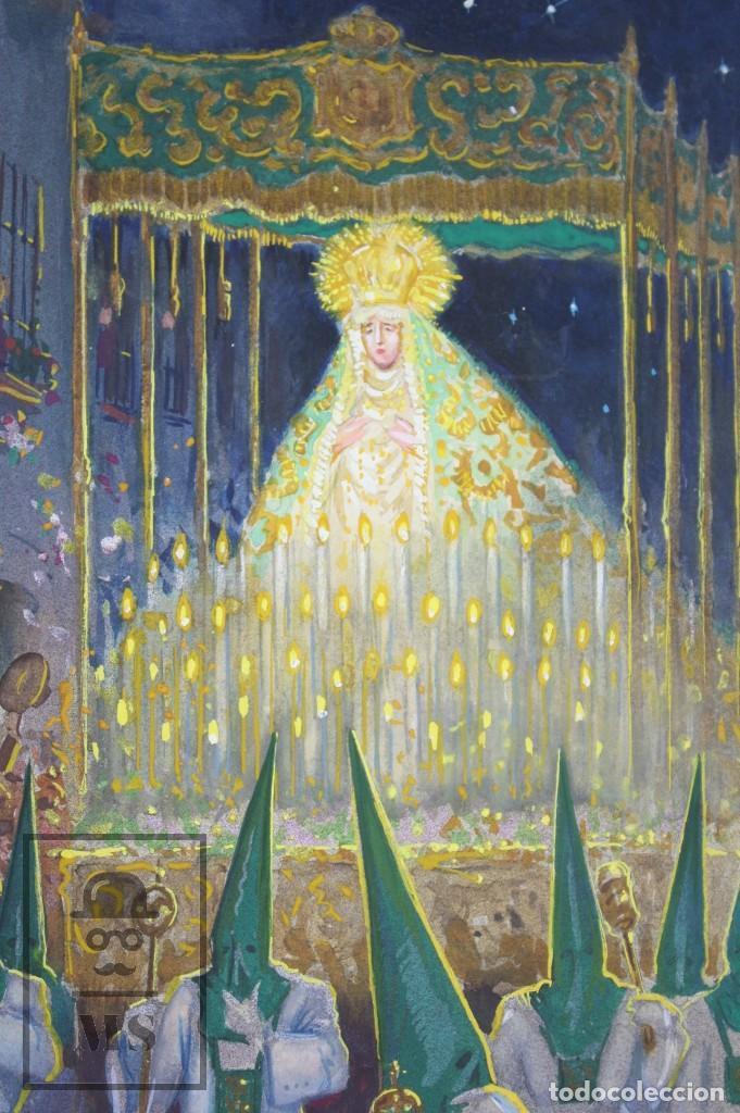 Arte: Ilustración Original al Gouache - Mujer en Procesión de Semana Santa. Andalucía. Niebla - Años 40-50 - Foto 5 - 81987828