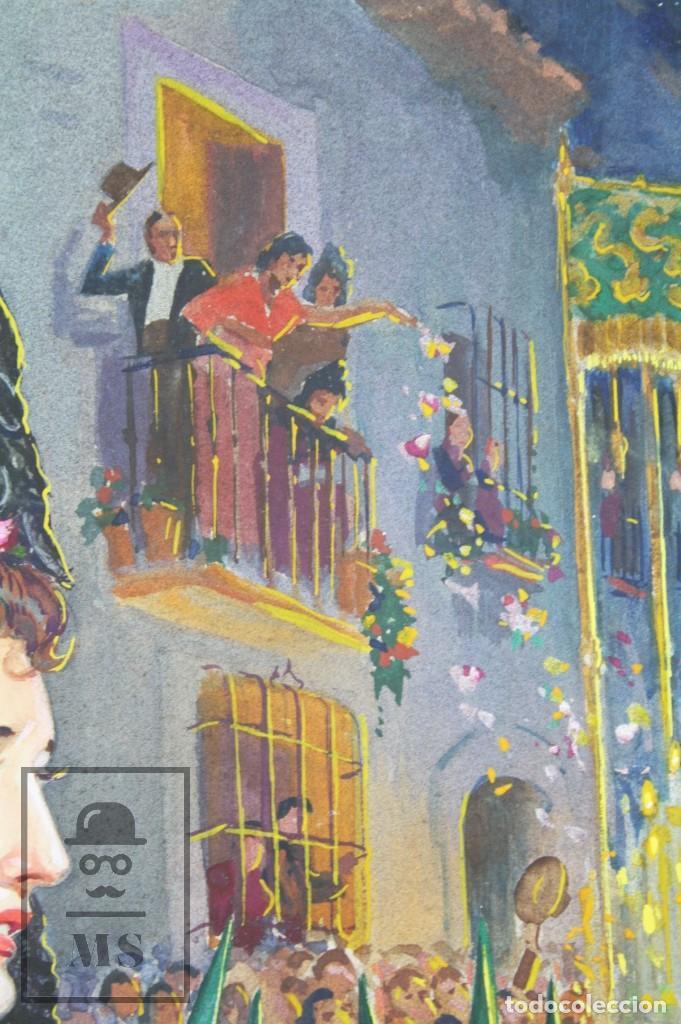 Arte: Ilustración Original al Gouache - Mujer en Procesión de Semana Santa. Andalucía. Niebla - Años 40-50 - Foto 6 - 81987828
