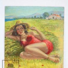 Arte: DIBUJO / ILUSTRACIÓN ORIGINAL AL ÓLEO - CHICA PIN UN EN EL CAMPO. LOZANO - AÑOS 40-50. Lote 81988800