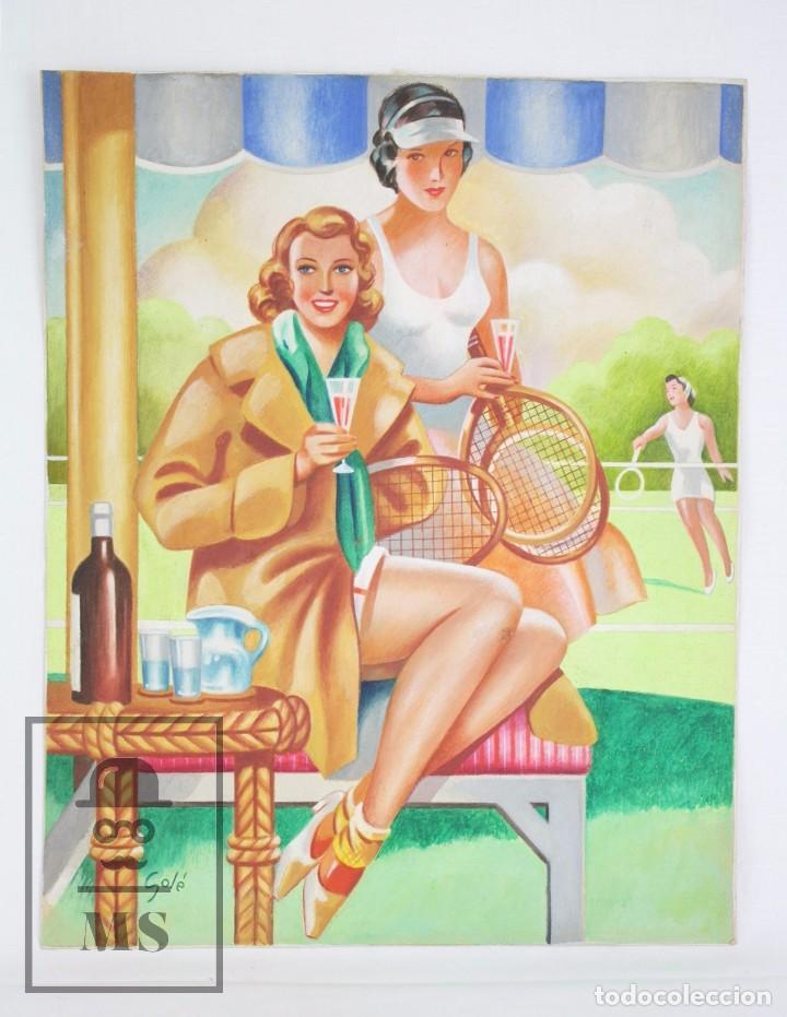 DIBUJO / ILUSTRACIÓN ORIGINAL AL GOUACHE - CHICAS PIN UP JUGANDO AL TENIS. SOLÉ - AÑOS 40-50 (Arte - Pintura Directa del Autor)