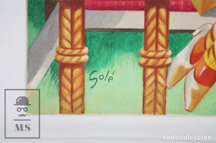 Arte: Dibujo / Ilustración Original al Gouache - Chicas Pin Up Jugando al Tenis. Solé - Años 40-50 - Foto 2 - 81989356
