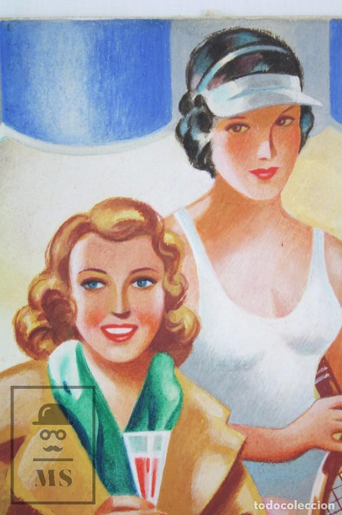 Arte: Dibujo / Ilustración Original al Gouache - Chicas Pin Up Jugando al Tenis. Solé - Años 40-50 - Foto 3 - 81989356
