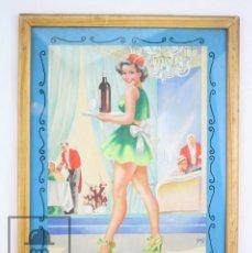 Arte: DIBUJO / ILUSTRACIÓN ORIGINAL AL GOUACHE ENMARCADA - CHICA / CAMARERA PIN UN. SOLÉ - AÑOS 40-50. Lote 81990164