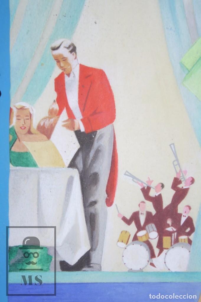Arte: Dibujo / Ilustración Original al Gouache Enmarcada - Chica / Camarera Pin Un. Solé - Años 40-50 - Foto 2 - 81990164
