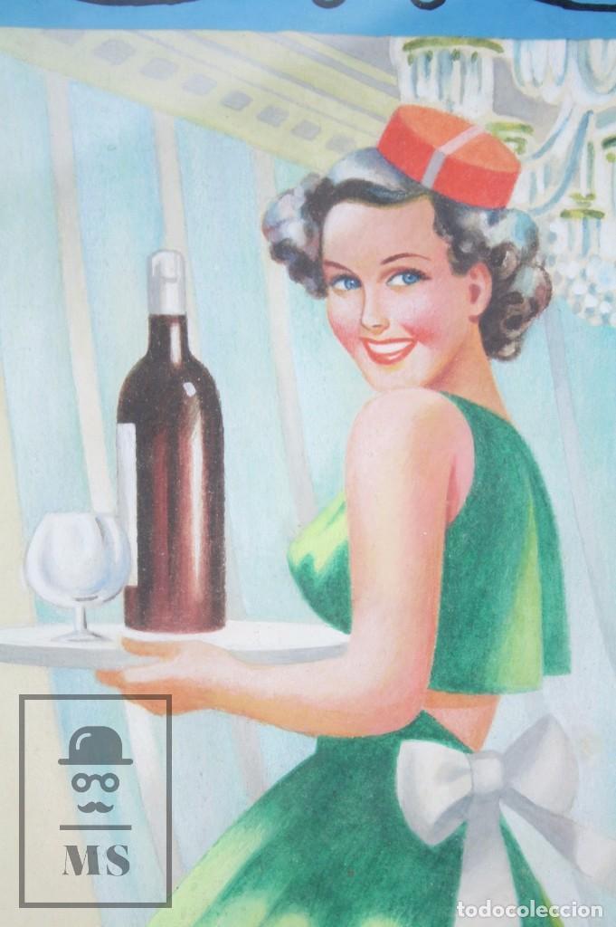 Arte: Dibujo / Ilustración Original al Gouache Enmarcada - Chica / Camarera Pin Un. Solé - Años 40-50 - Foto 3 - 81990164