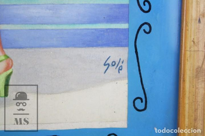 Arte: Dibujo / Ilustración Original al Gouache Enmarcada - Chica / Camarera Pin Un. Solé - Años 40-50 - Foto 5 - 81990164
