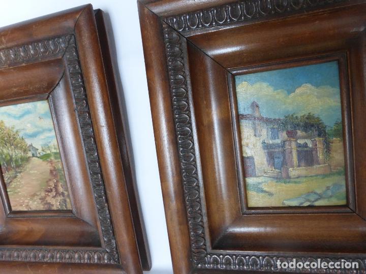 oleo sobre tabla, pareja de cuadros con motivos - Comprar Pintura al ...