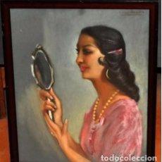 Arte: CARLOS VAZQUEZ UBEDA PINTURA CUADRO TITULADO GITANA EN EL ESPEJO POR EL FAMOSO PINTOR. Lote 82225504