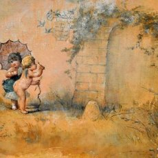 Arte: MICHEL DUMAS (LYON, 1812 - 1885) TECNICA MIXTA SOBRE SEDA. PAREJA DE ANGELES. Lote 82472812