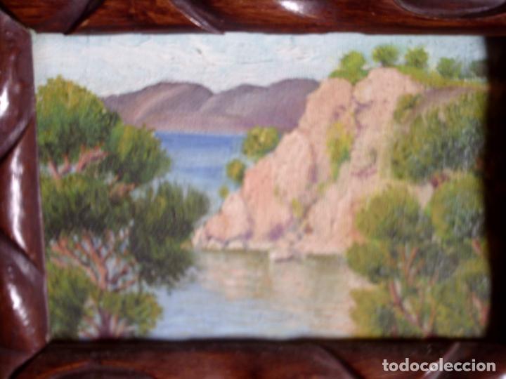 Arte: ~~~~ OLEO SOBRE TABLA - PAISAJE -BONITO ENMARCAJE DE MADERA ANTIGUO, MIDE 22X18, TABLITA 14X10 CM.~~ - Foto 5 - 72830591