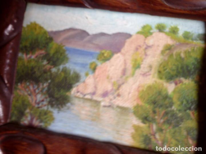 Arte: ~~~~ OLEO SOBRE TABLA - PAISAJE -BONITO ENMARCAJE DE MADERA ANTIGUO, MIDE 22X18, TABLITA 14X10 CM.~~ - Foto 6 - 72830591