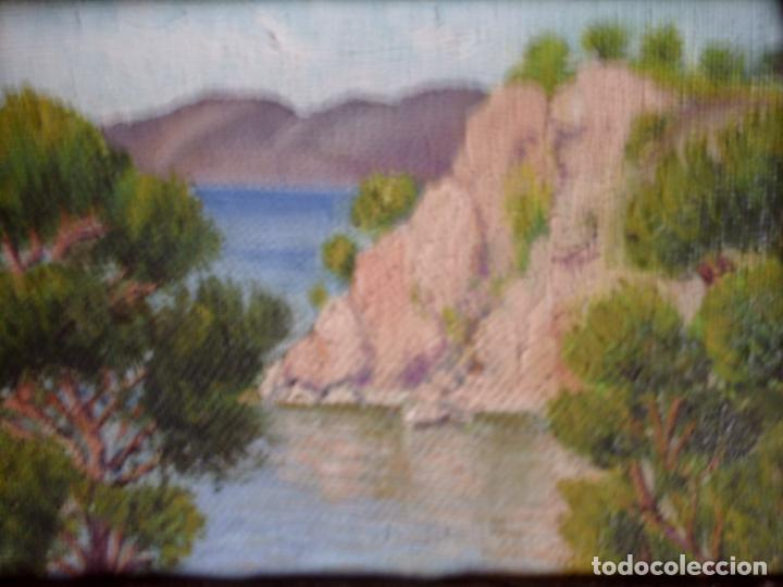 Arte: ~~~~ OLEO SOBRE TABLA - PAISAJE -BONITO ENMARCAJE DE MADERA ANTIGUO, MIDE 22X18, TABLITA 14X10 CM.~~ - Foto 7 - 72830591