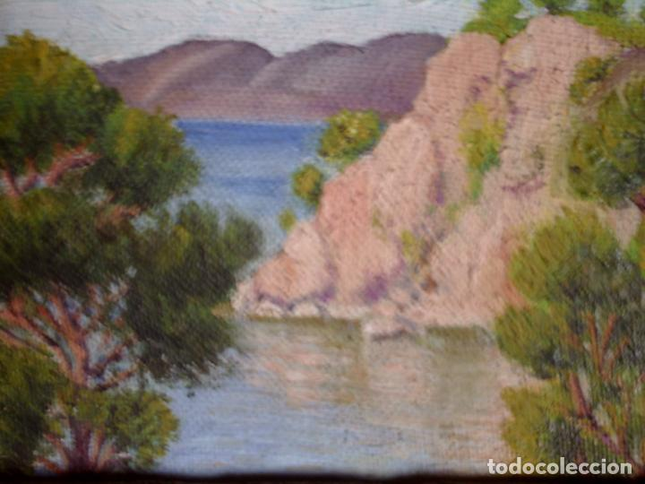 Arte: ~~~~ OLEO SOBRE TABLA - PAISAJE -BONITO ENMARCAJE DE MADERA ANTIGUO, MIDE 22X18, TABLITA 14X10 CM.~~ - Foto 8 - 72830591