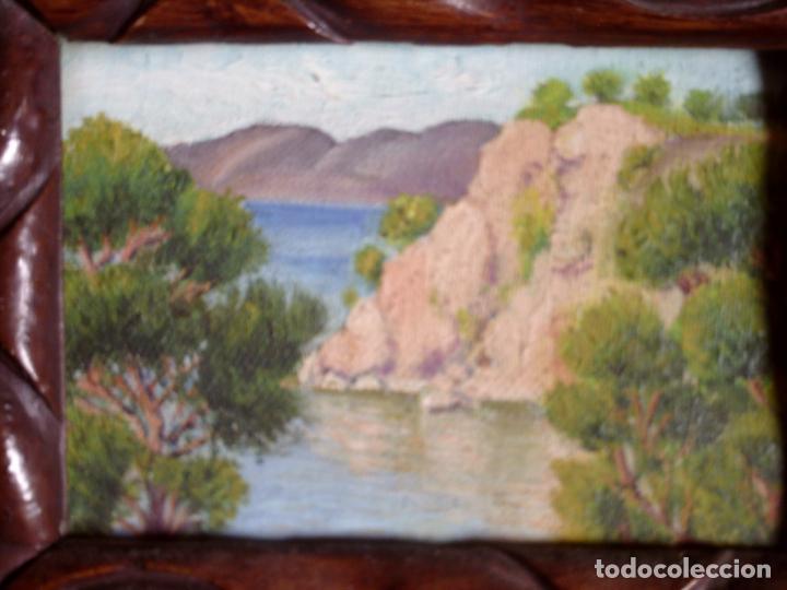 Arte: ~~~~ OLEO SOBRE TABLA - PAISAJE -BONITO ENMARCAJE DE MADERA ANTIGUO, MIDE 22X18, TABLITA 14X10 CM.~~ - Foto 9 - 72830591