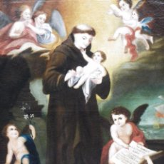Arte: SAN ANTONIO DE PADUA CON EL NIÑO JESÚS, S-XVIII. Lote 137303265