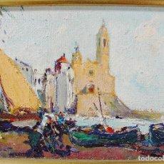 Arte: 2 PRECIOSOS ÓLEOS DE MANUEL AMAT ROSÉS (1909-1985). SITGES Y MONTSERRAT. ENMARCADOS. BUEN ESTADO. . Lote 82724136