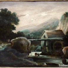 Arte: JOSE FRANCISCO COLUBI (MALLORCA, 2ª MITAD SIGLO XIX) OLEO SOBRE TABLA. PAISAJE. FIRMADO. Lote 82726000