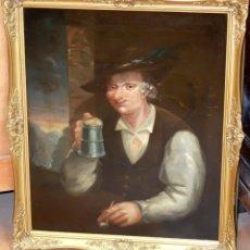 Arte: ESCUELA FLAMENCA DE FINALES DEL SIGLO XVIII. OLEO SOBRE TELA. BEBEDOR. Lote 82938548
