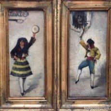 Arte: DOS ÓLEOS SOBRE TABLEX DE JOSÉ NAVARRO LLORENS 1867-1923. Lote 82965316