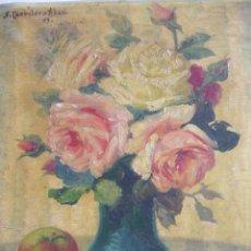 Arte: BODEGON FLORES SANTIAGO CARRILERO ABAD ILUSTRADOR Y CARTELISTA FALLERO.. Lote 83001388