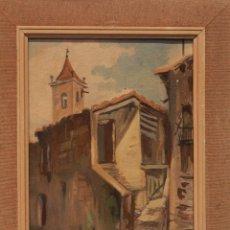 Arte: OLEO SOBRE TABLA, VISTA DE PUEBLO. FIRMADO FITER. 24X33CM. S.XX. Lote 83180396