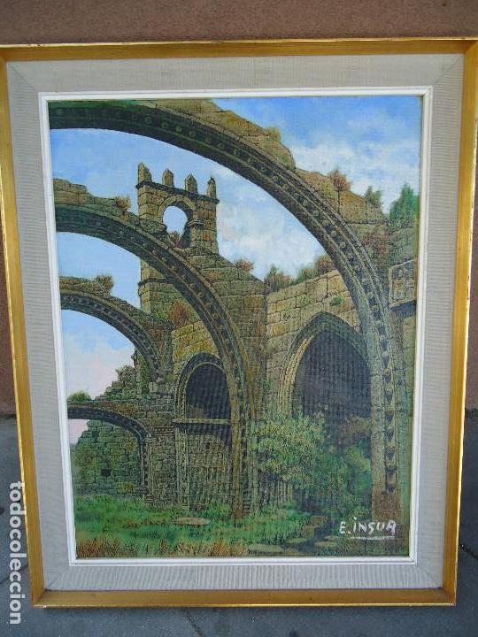 IMPRESIONANTE ÓLEO DE E INSUA 77 X 61,5 CM. VILALBA LUGO 1950 STA MARIA CAMBADOS (Arte - Pintura - Pintura al Óleo Moderna siglo XIX)