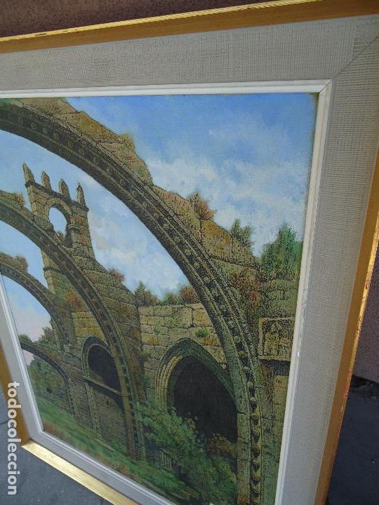 Arte: IMPRESIONANTE ÓLEO DE E INSUA 77 X 61,5 CM. VILALBA LUGO 1950 STA MARIA CAMBADOS - Foto 2 - 83369528