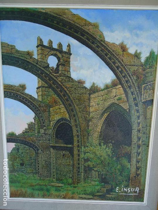 Arte: IMPRESIONANTE ÓLEO DE E INSUA 77 X 61,5 CM. VILALBA LUGO 1950 STA MARIA CAMBADOS - Foto 3 - 83369528