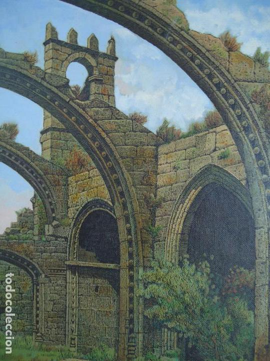 Arte: IMPRESIONANTE ÓLEO DE E INSUA 77 X 61,5 CM. VILALBA LUGO 1950 STA MARIA CAMBADOS - Foto 4 - 83369528