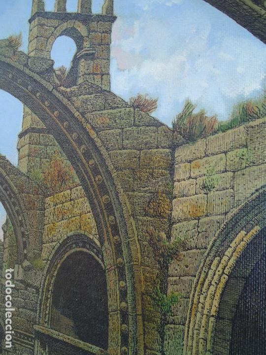 Arte: IMPRESIONANTE ÓLEO DE E INSUA 77 X 61,5 CM. VILALBA LUGO 1950 STA MARIA CAMBADOS - Foto 5 - 83369528