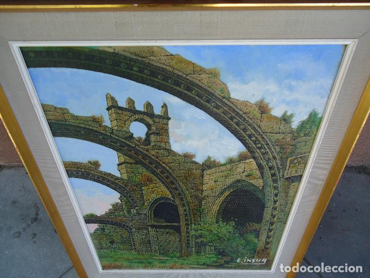 Arte: IMPRESIONANTE ÓLEO DE E INSUA 77 X 61,5 CM. VILALBA LUGO 1950 STA MARIA CAMBADOS - Foto 8 - 83369528