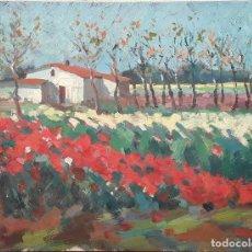 Arte: PAISAJE RURAL CON AMAPOLAS. ÓLEO SOBRE LIENZO. SIN FIRMA. ESPAÑA. SIGLO XX (?). Lote 165485157