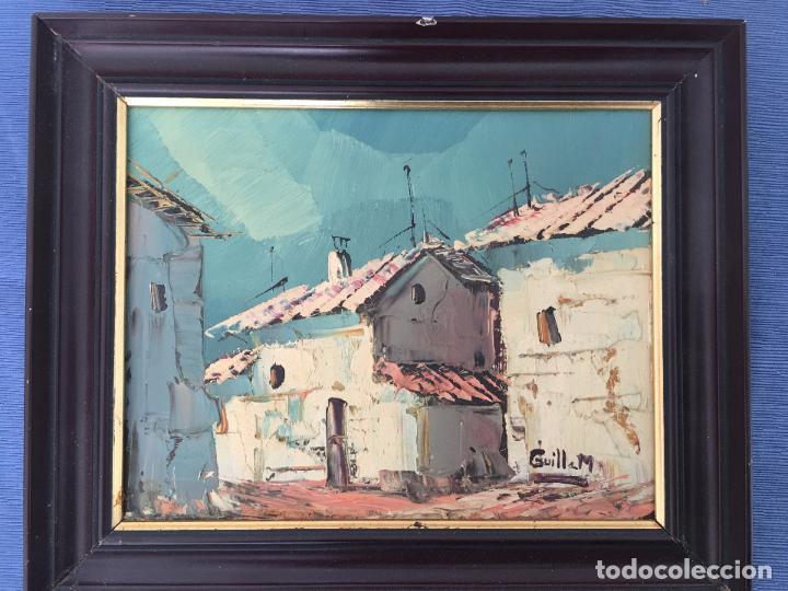 OLEO SOBRE TABLERO, PAISAJE RURAL,25 X 20 CM. FIRMADO GUILLEM (Arte - Pintura - Pintura al Óleo Moderna sin fecha definida)