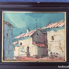 Arte: OLEO SOBRE TABLERO, PAISAJE RURAL,25 X 20 CM. FIRMADO GUILLEM. Lote 83465680