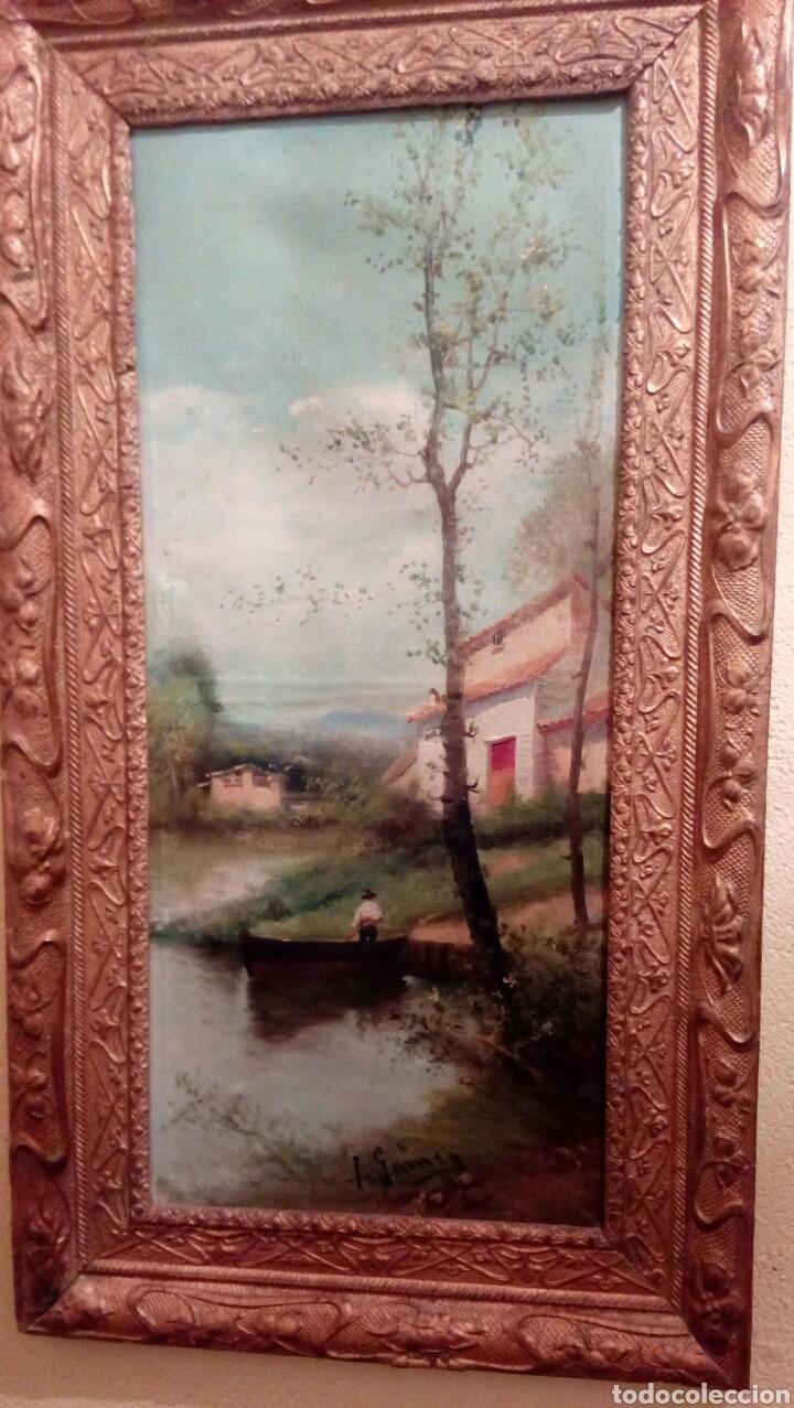 PAISAJE CON RIO DE I. GOMEZ, CON BONITO MARCO DEL XIX (Arte - Pintura - Pintura al Óleo Moderna siglo XIX)