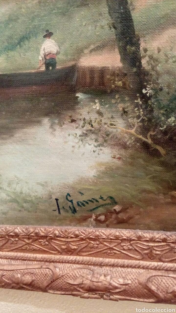 Arte: Paisaje con rio de I. Gomez, con bonito marco del XIX - Foto 2 - 83510056