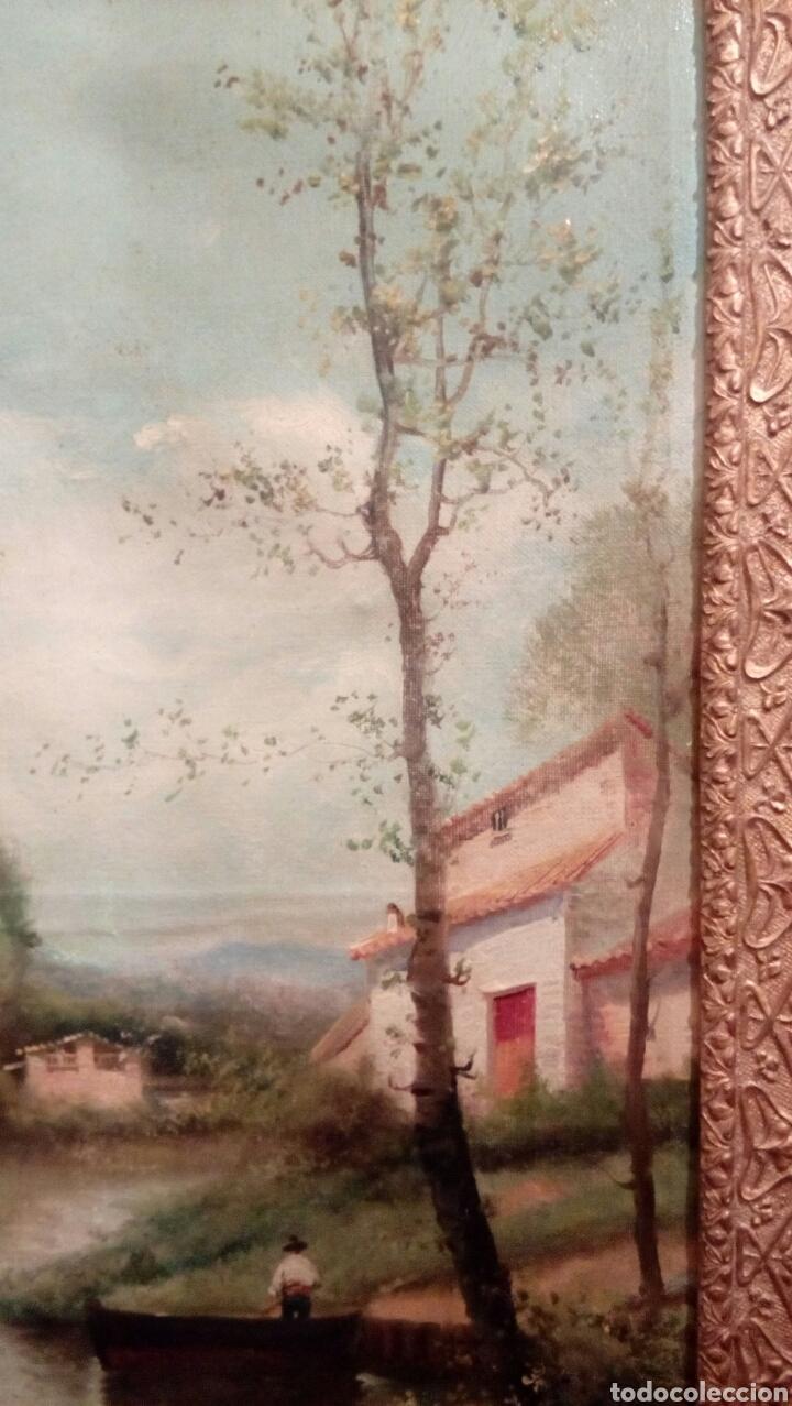 Arte: Paisaje con rio de I. Gomez, con bonito marco del XIX - Foto 3 - 83510056