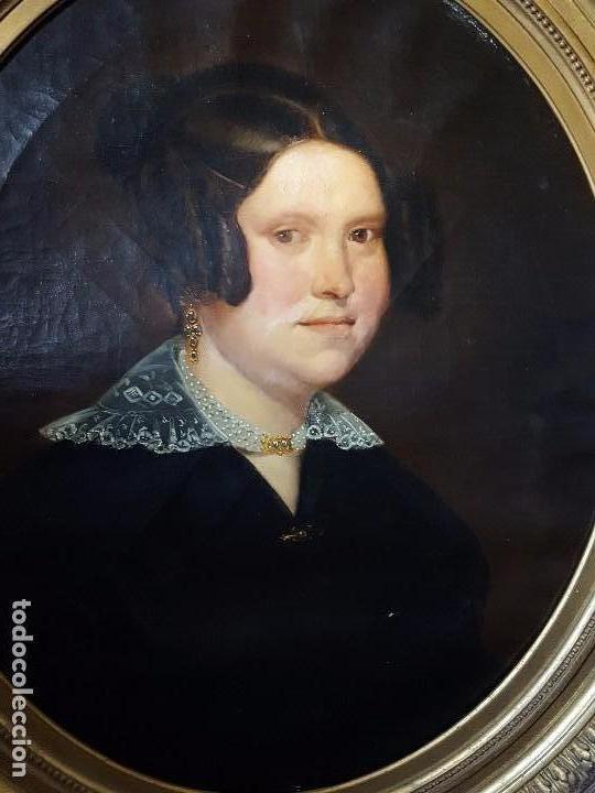 OLEO SOBRE LIENZO MOTIVO RETRATO DE MUJER (Arte - Pintura - Pintura al Óleo Moderna siglo XIX)